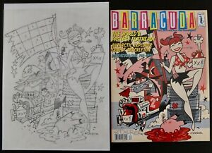 Derek Yaniger Original Drawing For Barracuda Cover Signed With Magazine Issue 18
