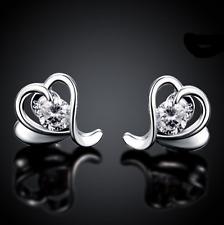 Heart Ear Stud Earrings #Ea36 Womens Sterling Silver Cz Crystal Love