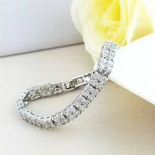 DOPPIA FILA Bracciale Tennis oro bianco 18K finitura diamanti creati un nuovo