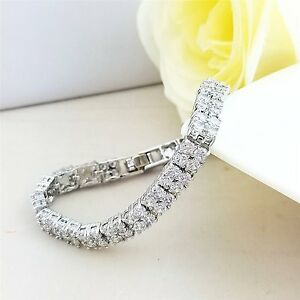 Zweireihig Tennis Armband 18K Weißgold Finish Qualität A Created Diamanten Neu