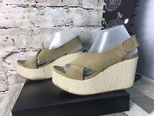PEDRO GARCIA EU39.5 / 9 TAMIRA TAN CREAM SUEDE SLINGBACK Platform Wedge Sandal