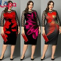 LAPA Plus Size Women Mesh Sleeve Midi Dress Casual Evening Cocktail Party Gown