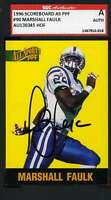 MARSHALL FAULK SGC COA Autographed 1996 Scoreboard Rookie Hand Signed Authentic