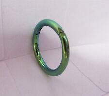 Green Titanium Snap in Hoop Belly Nipple Daith Nose Piercing 14 gauge 14g 10 mm