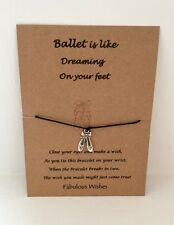 Wish String 'Ballet Shoes' Handmade Wish Charm Bracelet,gift, party bags