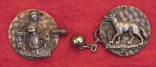 Victorian LITTLE RED RIDING HOOD & WOLF Brass Buckle (4312)