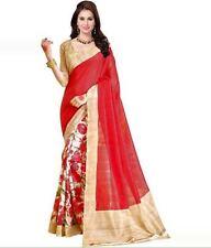 Ezone Trendy Flower Indian Bollywood Designer Bhagalpuri Silk printed Saree