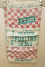 Vintage PURINA POULTRY CHOWS 50# Feed Seed Burlap Sack Bag Gunny Sack 18