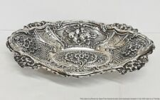 Ultra Long Antique Solid 800 Fine Silver Repousse Fruit Bowl 16.9ozt 1.1lbs