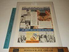 Rare Original VTG Mel Ott Lou Gehrig Camel Cigarettes Color Ad Art Print