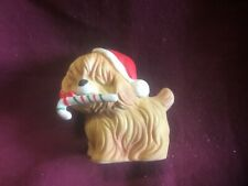 Lefton China Santa Dog With Candy Figurine 02036 Hand Painted Porcelain Bisque