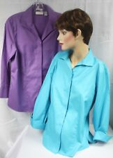 Lot of 2 Chico's 3/4 Sleeve Blouse Shirt Size 1 EUC Blue Purple