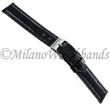 15mm deBeer Black Genuine Lizard Turned Edge Padded Stitched Watch Band