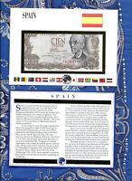 E Banknotes of All Nations Spain 1970 100 Pesetas P-152 UNC Prefix 7B