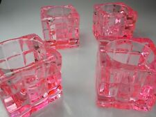 Vintage Solid Pink, Heavy Glass Tea Light Candle holders Set of Four