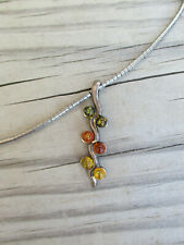 "Chain Pendant Fashion Necklace Jewelry 18"" Womens Silver Tone Fall Colors Vtg"