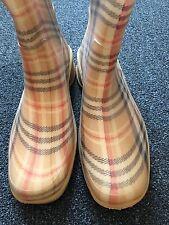 VANELi Rubber Rain Boots English Plaid Tan Black Red Sz US 8, UK 6, Euro 39