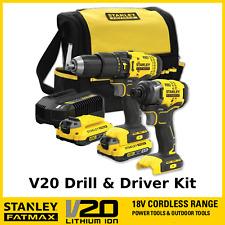 Stanley FatMax V20 Cordless 18v Hammer Drill Impact Driver Combo Kit Batteries