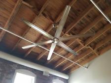"84"" Large Windmill Ceiling Fan Remote Unique Brushed Nickel Industrial Loft Shop"