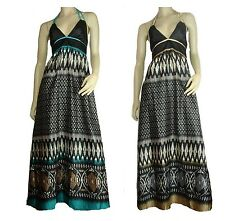 Maxi Dress Satin Size 8 Women Black Jade Gold Long Aztec Cocktail Party Races