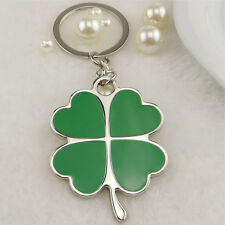 Creative Green Color Four-leaf Clover Fortune Keychain Key Chain Ring Key Fob