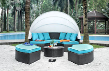 "Outdoor Rattan Patio Sofa Sun Bed Set w/ Canopy Daybed Round 91"" Brown/Turquoise"