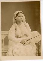 Algérie, Jeune Mauresque  Vintage albumen print.  Tirage albuminé  13x18