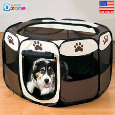 Foldable Fence Exercise Pen Cage Pet Dog Puppy Playpen Kennel Oxford Tent M