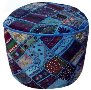 Pouf Ottoman Turquoise Indian Poof Pouffe Foot Stool Floor Pillow Cover Decor