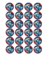 24 x Large Superman Edible Cupcake Toppers Birthday Party Cake Decoration