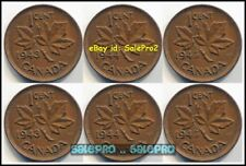6x CANADA 1943 1944 1945 CANADIAN MAPLE LEAF WWII WAR GEORGE VI PENNY COIN LOT