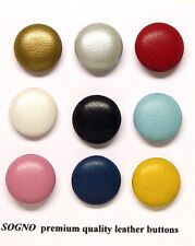 """9 MADE IN USA REAL LEATHER BUTTONS DIY OUTFIT CO-ORDINATION PROJETS, 21MM (3/4"""")"""