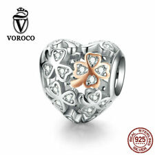 Voroco 925 Sterling Silver Clover Heart Pendant Charm Bead To Bracelet Necklace