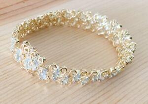 8.75ctw GORGEOUS GENUINE AQUAMARINE STONE & DIAMOND 18K GOLD VERMEIL BRACELET