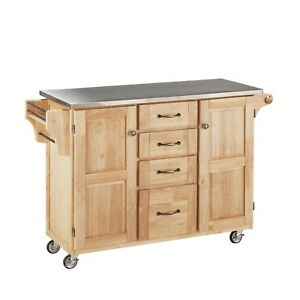 Create-a-Cart Natural Two Door Kitchen Cart with Stainless Steel Top