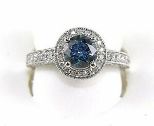 Natural Round Enhanced Blue Diamond Solitaire Lady's Ring 18k White Gold 2.80Ct