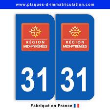 Stickers pour plaque département 31 Haute-Garonne (jeu de 2 stickers)