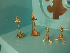 Dollhouse Miniature Fireplace Tools Set 2 options, Andirons 1:12 scale