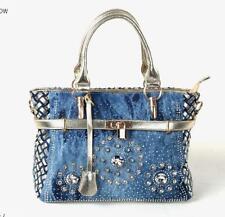 womens handbag large denim shoulder bags patchwork jeans handbag crystal bag