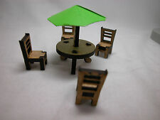 "Dollhouse Miniature 1/4"" Scale 1:48 Outdoor Patio Set  Made of  Plywood #Z293GRN"