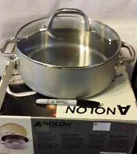 NIB-Anolon Chef Clad Stainless Steel 4-Quart Covered Dutch Oven-ship free