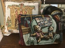 Pair Of Tapestry Christmas Throw Pillows