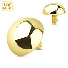14 Karat Solid Gold Dome 4mm Dermal Anchor Top 14g Internally Threaded