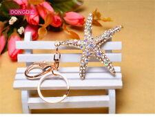Cute Crystal Starfish Key Chain Ring Fashion Rhinestone Sea star Alloy Keychain