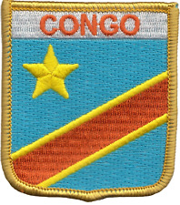 Kongo Kinshasa Flagge Shield Besticktes Abzeichen Letzte Einige