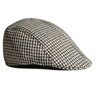 Mens Beret Houndstooth Baseball Cap Peaked Casquette Pageboy Hats Coffee+White