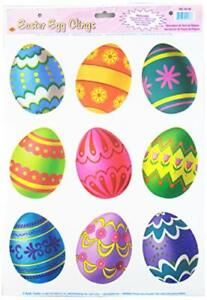 Easter Egg Clings Party Accessory (1 count) (9/Sh) Pkg of 1, Multicolor