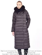 ~ Long Down Coat Jacket Parka Пуховик w/ Fox Fur sz L US 10 EU 42 $895 value NWT