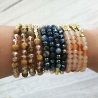 Natural Stone Beaded Stretch Bracelets for Women Glass Bead Bracelet Set Jewelry