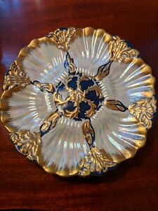 """Oyster Plate - 9 1/4""""Limoges, excellent condition crown and swords"""